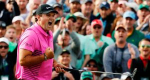 Patrick Reed reacts after winning the 2018 US Masters at Augusta National. Photo: Charlie Riedel