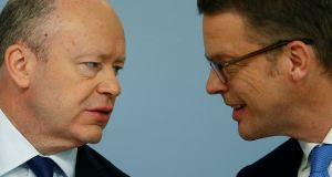 Outgoing CEO John Cryan,  of Germany's Deutsche Bank, and the newly appointed CEO Christian Sewing, pictured back in February. Photograph: Ralph Orlowski/Reuters