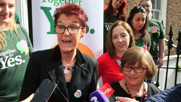 Orla O'Connor, Ailbhe Smyth and Grainne Griffin at the launch of the Together For Yes poster campaign. Photograph: Gareth Chaney Collins