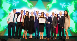 AbbVie employees from the company's Cork, Dublin, and Sligo centres celebrate AbbVie's first-place ranking at the Great Place to Work Awards.