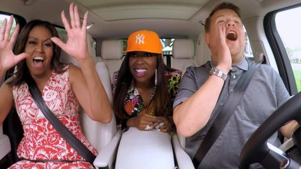 Carpool Karaoke: Michelle Obama and Missy Elliott join James Corden on The Late Late Show in 2016. Photograph: CBS via Getty