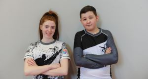 Shannon Quinn (18) and  Leon Donnelly (14) from Tallaght who partake in Kick (Kickboxing to Inspire and Challenge Kids) in Tallaght. Photograph: Aidan Crawley