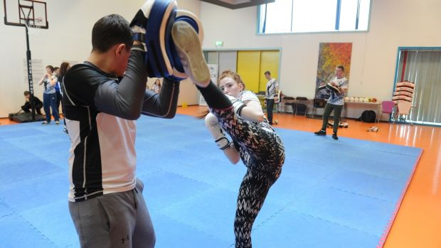 Leon Donnelly and Shannon Quinn from Tallaght taking part in KICK (Kickboxing to Inspire and Challenge Kids) in Tallaght. Photograph: Aidan Crawley