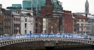 Dublin City Council's banner  on the Ha'penny Bridge in Dublin. Photograph Nick Bradshaw