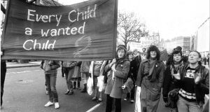 "An anti-abortion march in Dublin in 1982. ""If you believe that abortion is a great moral evil, Ireland before the Eighth was just about the best place on Earth."" Photograph: Tom Lawlor"