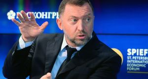 "Companies owned by Russian billionaire Oleg Deripaska (above) have warned that US sanctions against his Russian aluminium and energy empire would have a ""materially adverse impact"" on future business prospects and could result in technical credit defaults. Photograph: Olga Maltseva/AFP/Getty Images"