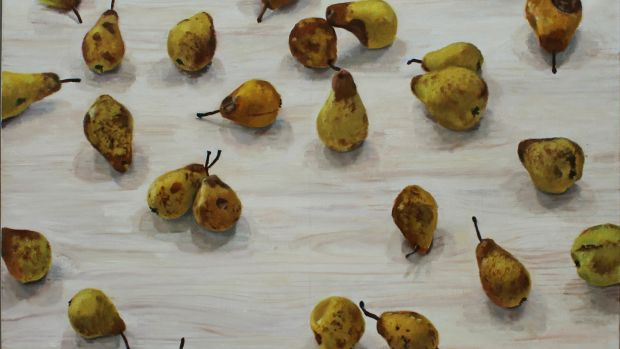 Lot 49 'Big Pears' is an oil-on-canvas measuring 28 by 40 inches by Blaise Smith acquired in 2006 from the Molesworth Gallery in Dublin (€3,000-€5,000)