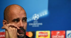Manchester City  manager Pep Guardiola at  a press conference ahead of the second leg of the  Champions League  quarter-final against Liverpool at the Etihad Stadium. Photograph:  Paul Ellis/AFP/Getty Images