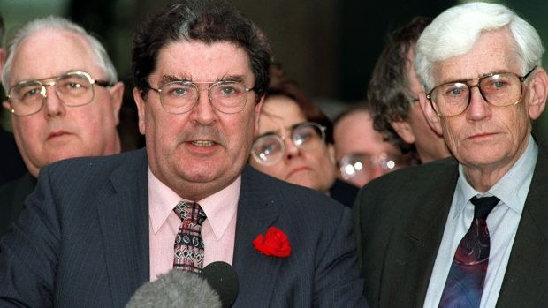 John Hume and Seamus Mallon of the SDLP after the deal was struck on Good Friday. Photograph: Paul Faith/Pacemaker