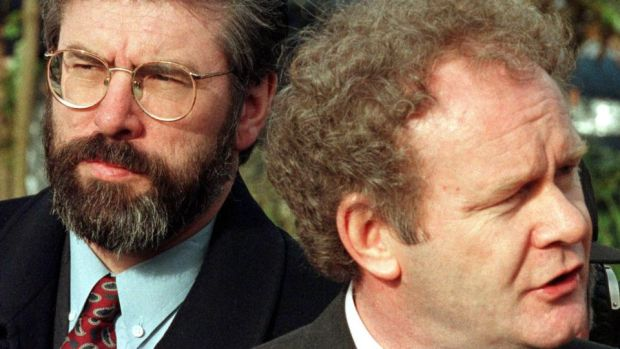 Sinn Féin's Gerry Adams and Martin McGuinness speaking to the media at Stormont Castle on April 9th, 1998. Photograph: AP Photo/Paul McErlane