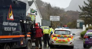 Gardaí close off access to the scene where two American tourists were killed at the Gap of Dunloe in Killarney on Monday. Photograph: Don MacMonagle