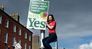 Together for Yes co-director Grainne Griffin at the campaign launch on Dublin's Mount Street on Monday morning.Photograph: Cyril Byrne