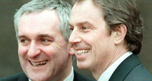 Bertie Ahern  and  Tony Blair after agreeing  the  peace deal for the North in  1998. Photograph:  PA