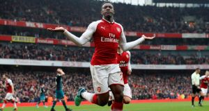 Arsenal's Danny Welbeck celebrates scoring the winner against Southampton on Sunday. Photograph: Reuters/David Klein