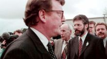 Ulster Unionist Party leader David Trimble and Sinn Féin president Gerry Adams pass within touching distance of each other outside Castle Buildings, Stormont during a break in the negotiations before the signing of the Belfast Agreement on April 10th, 1998. File photograph: PA