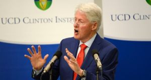 Former US president Bill Clinton called on Northern politicians to follow the example of their predecessors and make compromises to allow the power-sharing institutions to be restored. Photograph: Dara Mac Dónaill