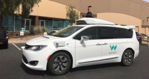 A Waymo self-driving vehicle is parked outside the Alphabet company's offices where its been testing autonomous vehicles in Arizona