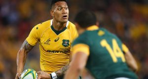 Wallabies player Israel Folau said on social media that gay people were destined to go to hell. Photograph: Getty Images