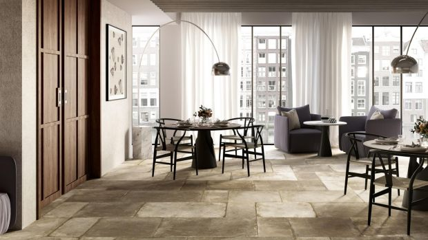A lightweight lookalike tile that feels like ancient limestone from Lapidicia