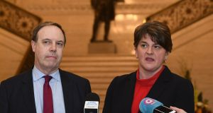 DUP deputy leader Nigel Dodds and leader Arlene Foster:  unionism and unionists need to rethink their identity and role in what is going to be a very different era.  Photograph: Colm Lenaghan/Pacemaker