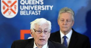 Seamus Mallon speaks as Peter Robinson looks on at an event to celebrate the 20th anniversary of the Belfast Agreement at Queen's University Belfast, April 10th, 2018.  Photograph: Clodagh Kilcoyne/Reuters