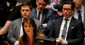 United States ambassador to the United Nations Nikki Haley addresses the United Nations Security Council meeting on Syria at the UN headquarters in New York. Photograph: Brendan McDermid/Reuters