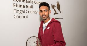 "Efrem Gidey from Eritrea, a fifth-year student at Le Chéile Secondary School in Tyrellstown, Dublin, was praised for his ""courage and dedication"". Photograph: Kevin McFeely"