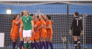 Ireland's Louise Quinn dejected after conceding they first goal of the game to the Netherlands in their 2019 World Cup qualifier. Photo: Ryan Byrne/Inpho