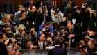 Facebook chief executive Mark Zuckerberg is surrounded by members of the media as he arrives to testify before a Senate Judiciary and Commerce Committees joint hearing regarding the company's use and protection of user data. Photograph: Leah Millis/Reuters