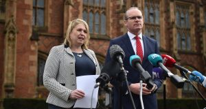 Northern Ireland secretary of state Karen Bradley and Tánaiste Simon Coveney hold a press conference as they attend an event to mark the 20th anniversary of the Belfast Agreement at Queens University  in Belfast, Northern Ireland. Photograph: Charles McQuillan/Getty Images