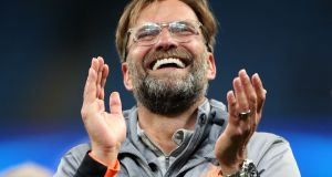 Liverpool manager Jurgen Klopp celebrates after his team's win at the Etihad. Photograph: Nick Potts/PA