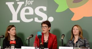 Ailbhe Smyth, centre,  at a Together for Yes press conference in Dublin with Dr Cliona Murphy, left,  and Dr Aoife Mullally. Photograph: Dara Mac Dónaill / The Irish Times