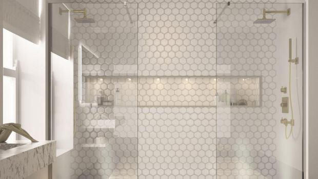 A smart compromise: If you don't have the space or the money to build separate bathrooms Merlyn Showering's his and hers shower is a good compromise.