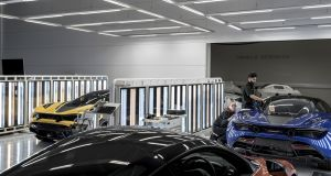 The production line at McLaren's factory in Woking, England. Photograph: Andrew Testa/The New York Times