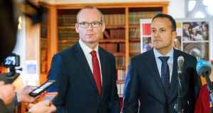 "Taoiseach Leo Varadkar (right) and Tánaiste Simon Coveney ""have fuelled suspicion and paranoia in the North and the rest of the UK by raising . . . the question of a united Ireland"". Photograph: Daragh McSweeney/Provision"