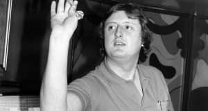 England about to throw a dart  Caption: Embassy World Darts Championships, England, 9th January 1982, Eric Bristow in action during the 1982 Embassy World Darts Championships, England. Photograph: Getty Images