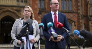 UK Secretary of State for Northern Ireland Karen Bradley and Minister for Foreign Affairs Simon Coveney speak at an event to celebrate the 20th anniversary of the Belfast Agreement, in Belfast, on Tusday. Photograph: Clodagh Kilcoyne/Reuters
