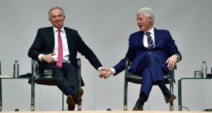 "Bill Clinton and Tony Blair at Queen's University on Tuesday, ""signalling they were not there to cry over the agreement's corpse"". Photograph: Charles McQuillan/Getty Images"