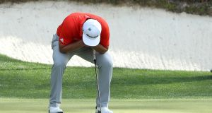 Jon Rahm of Spain reacts to a missed putt during the final round of the 2018 US Masters Tournament at Augusta National Golf Club in Augusta, Georgia. Photo: David Cannon/Getty Images