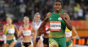 South Africa's Caster Semenya coasts to victory in the 1,500m  final at  the Commonwealth Games at the Carrara Stadium on the Gold Coast, Australia. Photograph: AFP/Getty Images