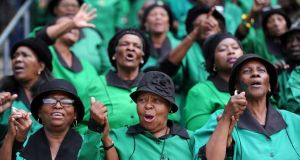 Mourners attend the memorial service of Winnie Madikizela-Mandela at the Orlando stadium in Soweto, South Africa, on Wednesday. Photograph: EPA/STR