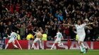 Real Madrid's Cristiano Ronaldo celebrates after scoring a last minute penalty against Juventus in their Champions League quarter-final.  Photo: Paul Hanna/Reuters