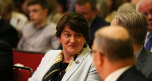 DUP leader Arlene Foster during an event to mark the 20th anniversary of the Good Friday Agreement, at Queen's University in Belfast. Photograph: Brian Lawless/PA Wire