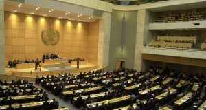 The UN Human Rights Council in Geneva: All rights depend upon the existence of an assembly of people to affirm them. Photograph: Jean-Pierre Clatot/AFP/Getty Images