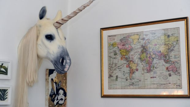 Andrea Horan's unicorn in her living room. Photograph: Aidan Crawley