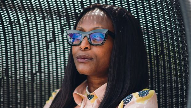 Furaha Bishota of Cocolili, chartered accountant turned fashion entrepreneur, wearing one of her printed silk shirts. Photograph: Fionn McCann