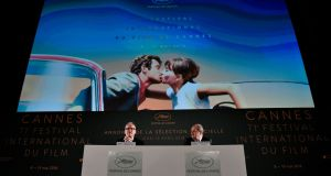 Cannes director Thierry Frémaux and president Pierre Lescure announce the selection. Photograph: Stephane de Sakutin/AFP/Getty Images Images