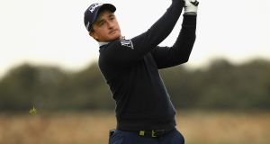 Ireland's Paul Dunne in action during the first round of the Open de Espana at Centro Nacional de Golf  in Madrid. Photograph: Ross Kinnaird/Getty Images