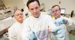 Dr Michael O'Neill, director of research and development at Inflection Biosciences, Darren Cunningham, chief executive at Inflection and Prof Bryan Hennessy, senior clinical lecturer at RCSI and consultant medical oncologist. Photograph: Julien Behal