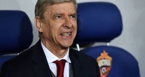 Arsenal manager Arsene Wenger at the VEB Arena stadium in Moscow. Photograph: Getty Images